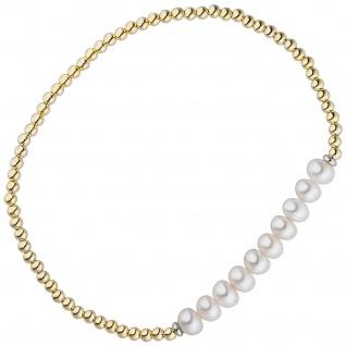 Armband 925 Silber gold vergoldet 10 Süßwasser Perlen Perlenarmband flexibel