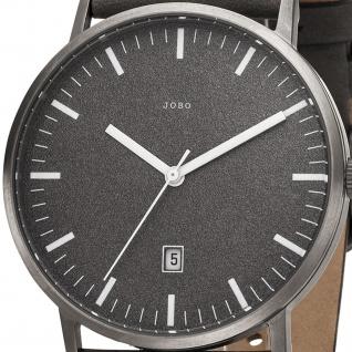 JOBO Herren Armbanduhr Quarz Analog Titan Lederband grau - Vorschau 2
