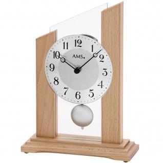 AMS 1171 Tischuhr Quarz mit Pendel modern Holz Buche mit Glas