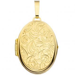 Medaillon oval für 2 Fotos 333 Gold Gelbgold matt Anhänger zum Öffnen - Vorschau 1