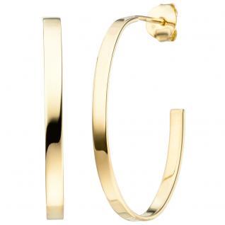 Halbcreolen oval 925 Sterling Silber gold vergoldet Ohrringe Creolen