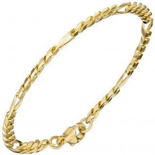 Figaroarmband 585 Gold Gelbgold 18, 7 cm Armband Goldarmband Karabiner - Vorschau 2