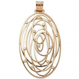 Anhänger oval 585 Gold Rotgold 12 Diamanten Brillanten 0, 14ct. Rotgoldanhänger
