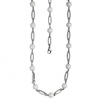 Collier Halskette Edelstahl mit Kugeln aus weißer Keramik 47 cm Kette - Vorschau 2