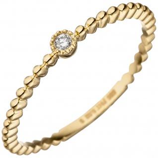 Damen Ring 585 Gold Gelbgold 1 Diamant Brillant 0, 02ct. Goldring Diamantring