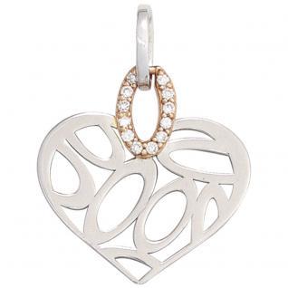 Anhänger Herz 585 Gold Rotgold bicolor 12 Diamanten Brillanten Herzanhänger
