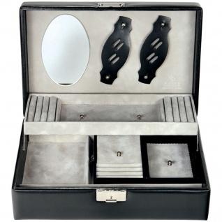 Sacher Schmuckkoffer Schmuckkasten schwarz Holz mit Leder abschließbar Reisetui
