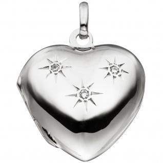 Medaillon Herz für 2 Fotos 925 Sterling Silber 3 Zirkonia Anhänger zum Öffnen