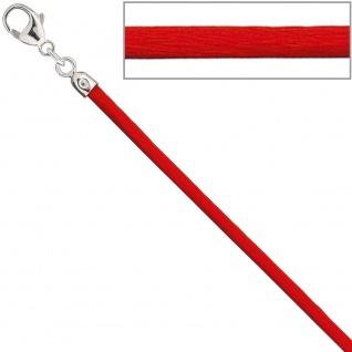 Collier Halskette Seide rot 2, 8 mm 42 cm, Verschluss 925 Silber Kette