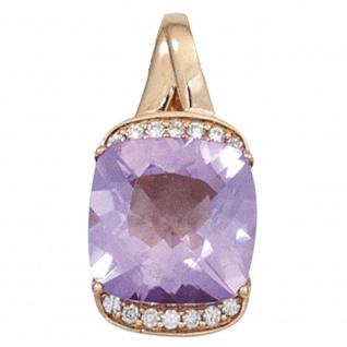 Anhänger 585 Gold Rotgold 1 Amethyst lila violett 14 Diamanten Brillanten