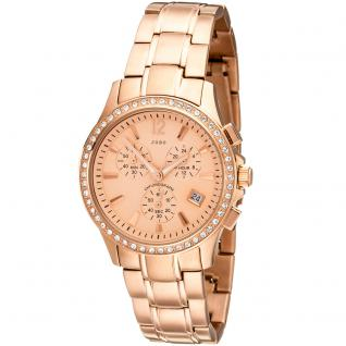JOBO Damen Armbanduhr Quarz Chronograph Edelstahl mit Kristallsteinen