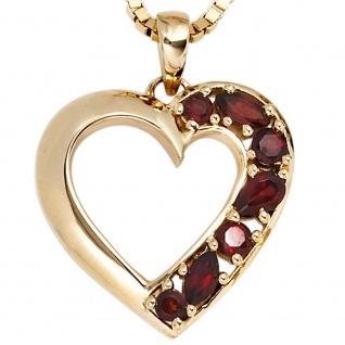 Anhänger Herz 585 Gold Gelbgold 7 Granate rot Herzanhänger Granatanhänger - Vorschau 2