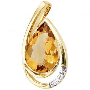 Anhänger Tropfen 585 Gold Gelbgold 4 Diamanten Brillanten 1 Citrin Goldanhänger