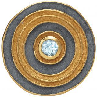 Anhänger rund 925 Sterling Silber vergoldet oxydiert 1 Blautopas hellblau blau