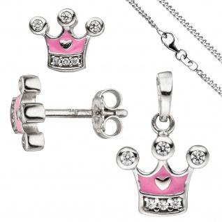 Kinder Mädchen Schmuck-Set Krone pink rosa 925 Silber Zirkonia mit Kette 38 cm