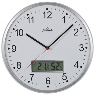 Atlanta 4503/19 Wanduhr Quarz analog silbern mit Thermometer Hygrometer leise