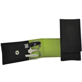 Pfeilring Maniküretui VEGAN schwarz hellgrün 3-teilige Bestückung Maniküre Set