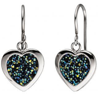 Ohrhänger Herz Herzen Edelstahl mit Kristallsteinen Ohrringe