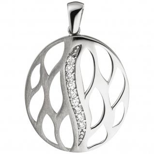 Anhänger rund 925 Sterling Silber teil matt 9 Zirkonia Silberanhänger