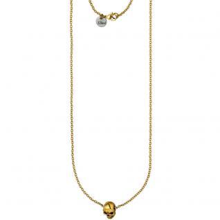 Collier Kette mit Anhänger Totenkopf Edelstahl gold farben 79 cm