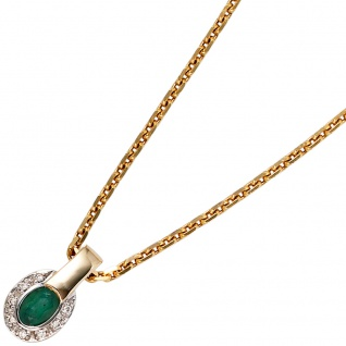 Anhänger oval 585 Gold Gelbgold bicolor 8 Diamanten Brillanten 1 Smaragd - Vorschau 4