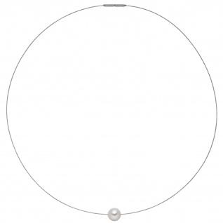 Collier Kette Halskette Edelstahl mit 1 Akoya Perle 42 cm
