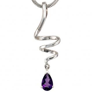 Anhänger Tropfen 925 Sterling Silber rhodiniert 1 Amethyst lila violett - Vorschau 2