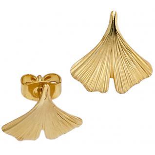 Ohrstecker Ginko Ginkgo 375 Gold Gelbgold teil matt Ohrringe