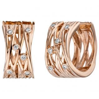 Creolen breit 585 Gold Rotgold 12 Diamanten Brillanten Ohrringe Rotgoldcreolen