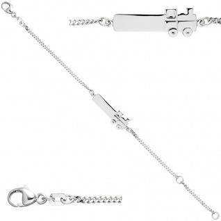 Schildband Lokomotive Dampflok 925 Sterling Silber 14 cm Gravur ID Armband - Vorschau 1