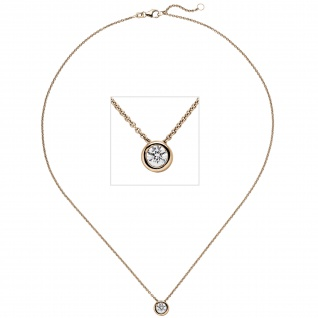 Collier Kette mit Anhänger 585 Gold Rotgold 1 Diamant Brillant 0, 50 ct. 45 cm