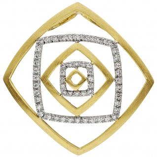 Anhänger 585 Gold Gelbgold Weißgold bicolor teil matt 56 Diamanten Brillanten