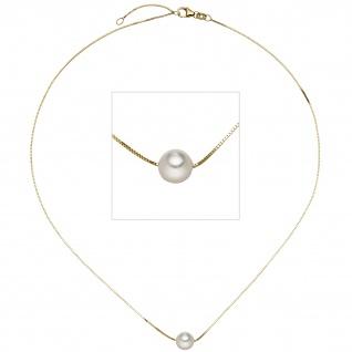 Collier Halskette 375 Gold Gelbgold 1 Akoya Perle 45 cm Kette Goldkette