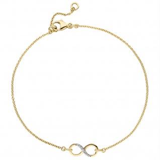 Armband Unendlichkeit 375 Gold Gelbgold bicolor 7 Zirkonia 19, 5 cm Goldarmband - Vorschau 2