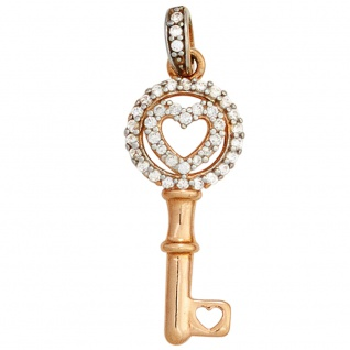 Anhänger Schlüssel 925 Sterling Silber rhodiniert bicolor vergoldet mit Zirkonia