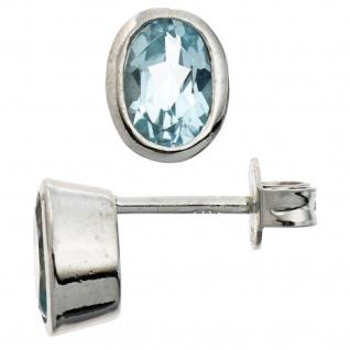 Ohrstecker oval 925 Sterling Silber rhodiniert 2 Blautopase hellblau blau Ohrrin