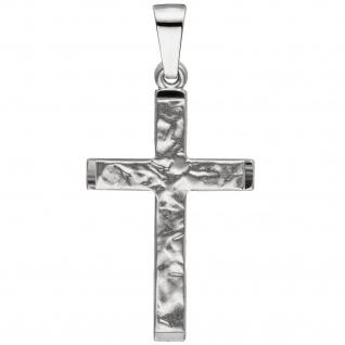Anhänger Kreuz 333 Gold Weißgold teil matt gehämmert Kreuzanhänger