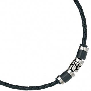 Collier Halskette Leder schwarz mit Edelstahl 45 cm Kette Lederkette