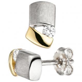 Ohrstecker 925 Sterling Silber bicolor vergoldet matt 2 Zirkonia Ohrringe