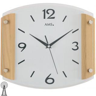 AMS 5938/18 Wanduhr Funk Funkwanduhr analog modenr Holz Buche massiv mit Glas