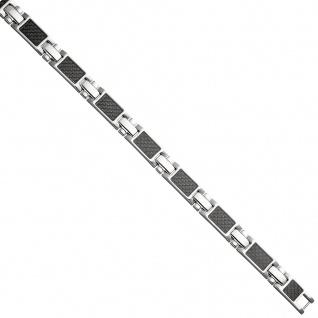 Armband aus Edelstahl mit Carbon kombiniert 20, 5 cm - Vorschau 2