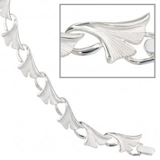 Armband Ginko Ginkgo 925 Sterling Silber mattiert 19 cm Silberarmband