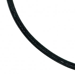 Leder Halskette Kette Schnur schwarz 50 cm, Karabiner 925 Sterling Silber - Vorschau 3