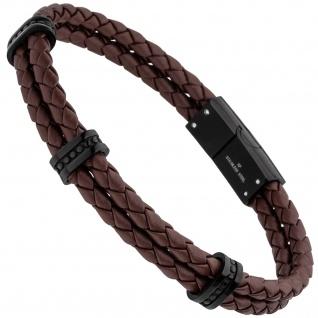 Armband 2-rehig Leder braun mit Edelstahl schwarz 21, 5 cm
