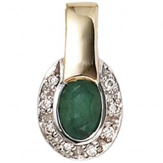 Anhänger oval 585 Gold Gelbgold bicolor 8 Diamanten Brillanten 1 Smaragd