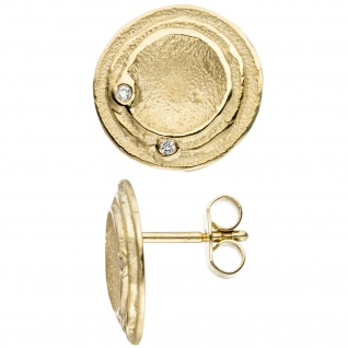 Ohrstecker rund 585 Gold Gelbgold 4 Diamanten Brillanten Ohrringe matt mattiert