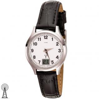 JOBO Damen Armbanduhr Funk Funkuhr Edelstahl Lederband schwarz Datum Damenuhr - Vorschau 1