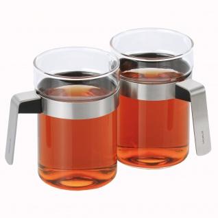 Blomus 2 Teegläser SENCHA, Glas mit Edelstahl matt kombiniert, 300 ml Inhalt