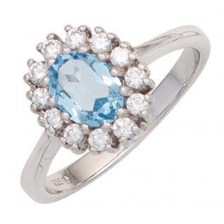 Damen Ring 925 Sterling Silber 1 Blautopas hellblau blau 12 Zirkonia Silberring
