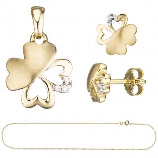 Schmuck-Set Kleeblatt 333 Gold Gelbgold 7 Zirkonia Ohrringe und Kette 45 cm - Vorschau 2